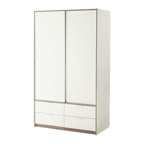 TRYSIL Garderobeskab skydedøre 4 skuf, hvid Sliding door, Drawers - armoire ikea porte coulissante