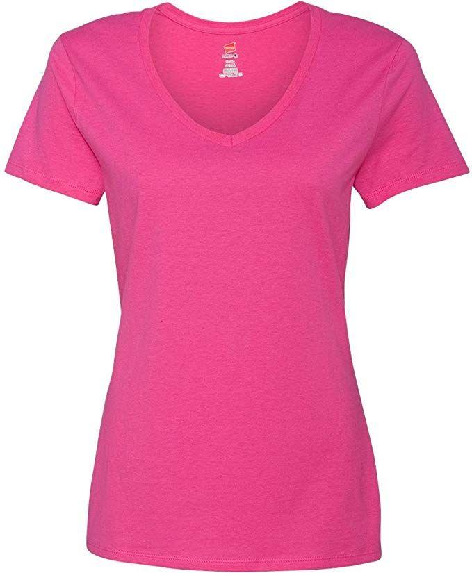 04f7db2a99cb Hanes Women s Nano- V-Neck T-Shirt WOW PINK X-Large