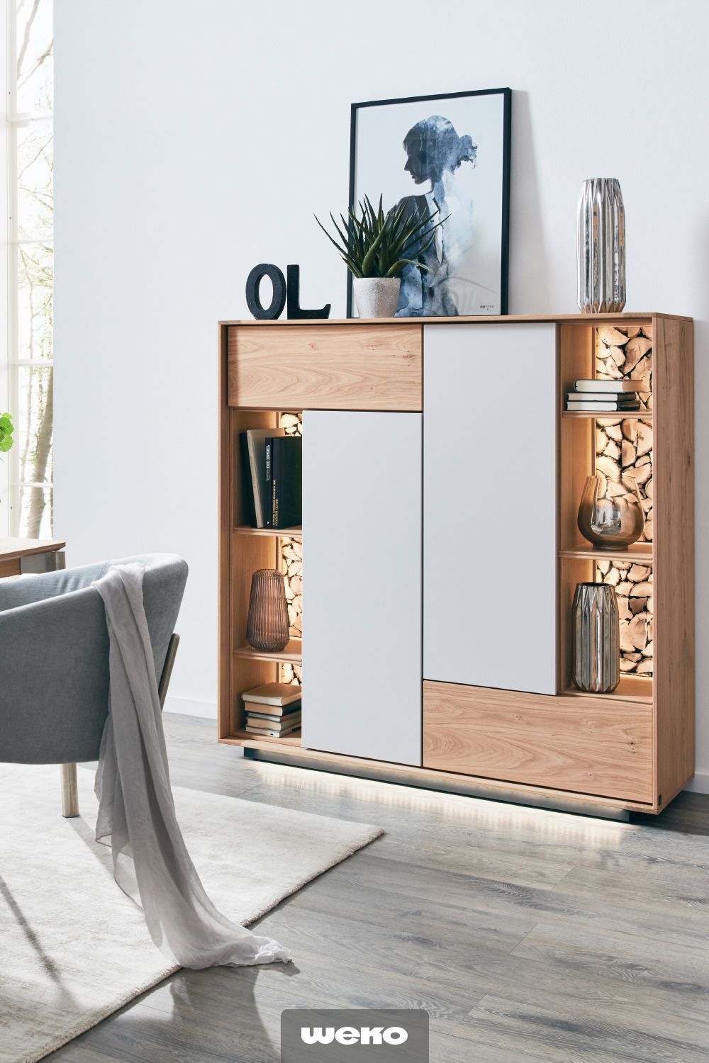 Modern Highboard From The Interliving Series 5602 With Firewood Backs Backs Firewood Highboard Interliving Small Living Room Design Modern Dining Room Home