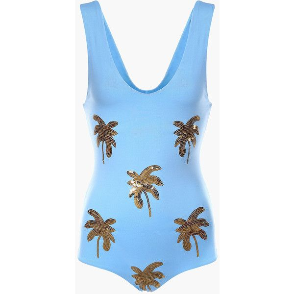 Gold Sequin Palm Tree Swimsuit 45 Liked On Polyvore Featuring