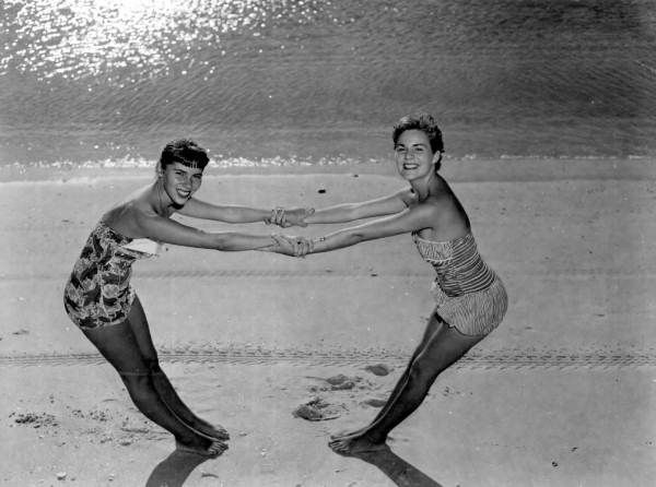 Best friends on the beach in Naples (1953).   Florida Memory