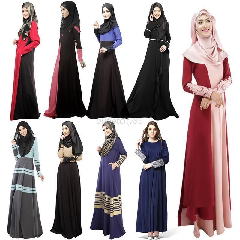 aac2e367a0c Kaftan Abaya Islamic Muslim Cocktail Womens Vintage Long Sleeve Long Maxi  Dress