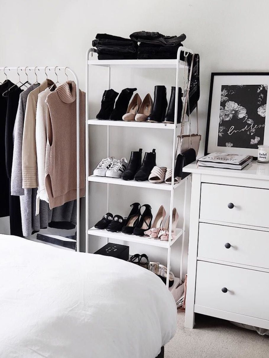 Use A Shoe Tower To Organize Shoes Handbags And Other Accessories In Small Bedroom