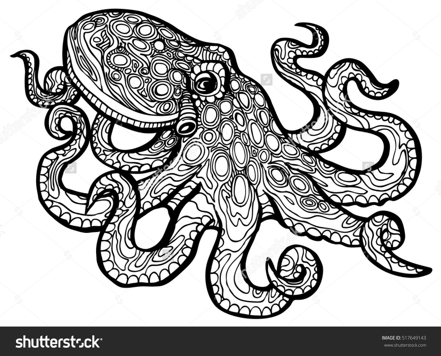 Download Stylized octopus - vector illustration for coloring book ...