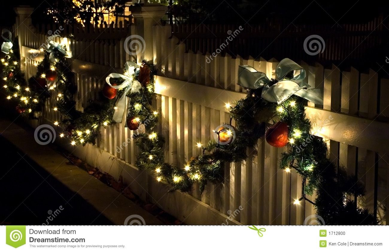 Holiday Fence Decorations Stock Photo Image Of Bows Holiday