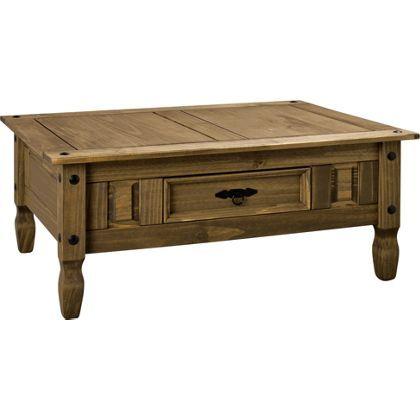 Aruba Solid Pine Coffee Table With Drawer Dark Pine Coffee