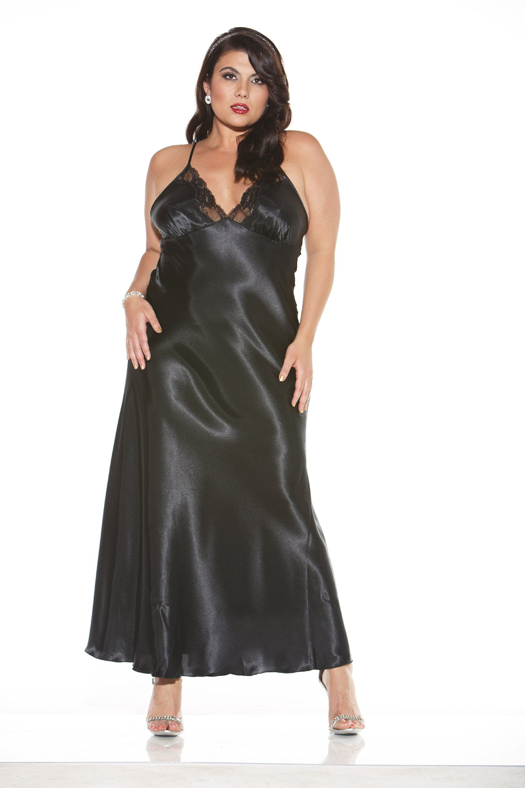 Shirley of Hollywood Womens Charmeuse and Lace Long Gown