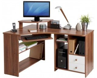 Bureau dangle informatique angle gauche tanga noyer id dko