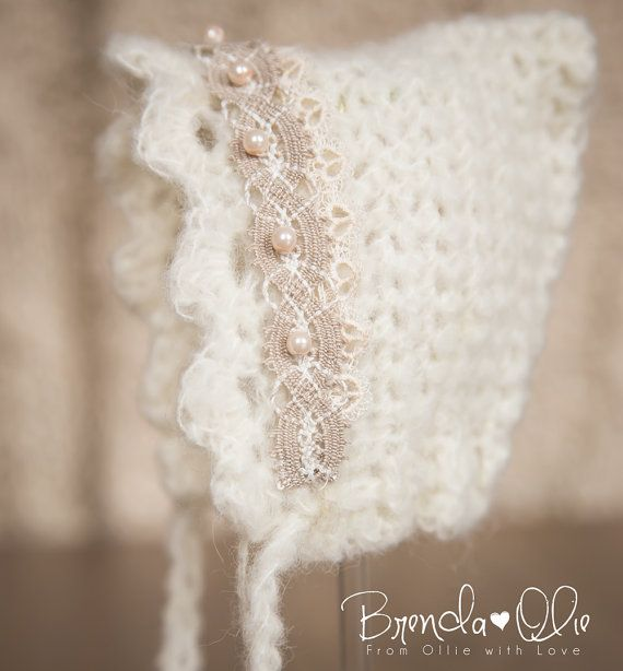 Precious Vintage look Newborn hat with pearls via Etsy | From Ollie ...