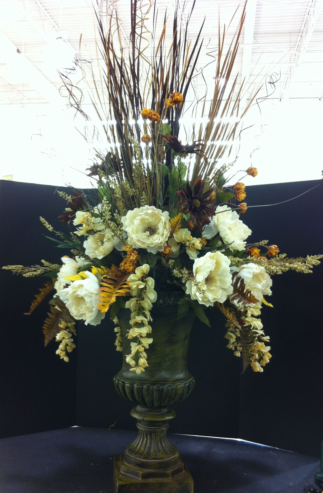 Custom Silk And Dried Urn Arrangement In Tans And Browns 2013