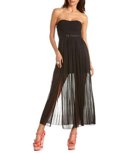9f8757e9e60 Belted Double Slit Maxi Dress  Charlotte Russe