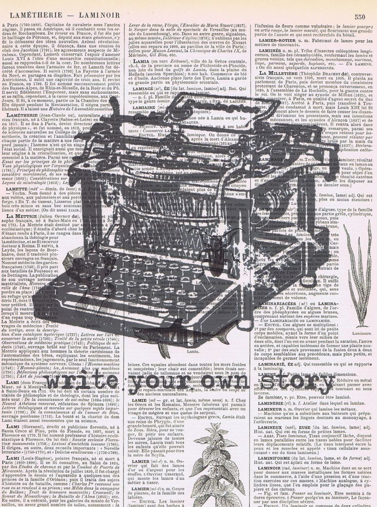Vintage Typewriter, write your own story collage antique book page print