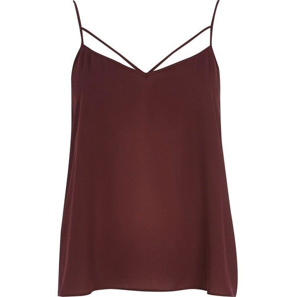 75e935a7d6da7 River Island Dark red strappy cami top ( 8.91) ❤ liked on Polyvore  featuring tops