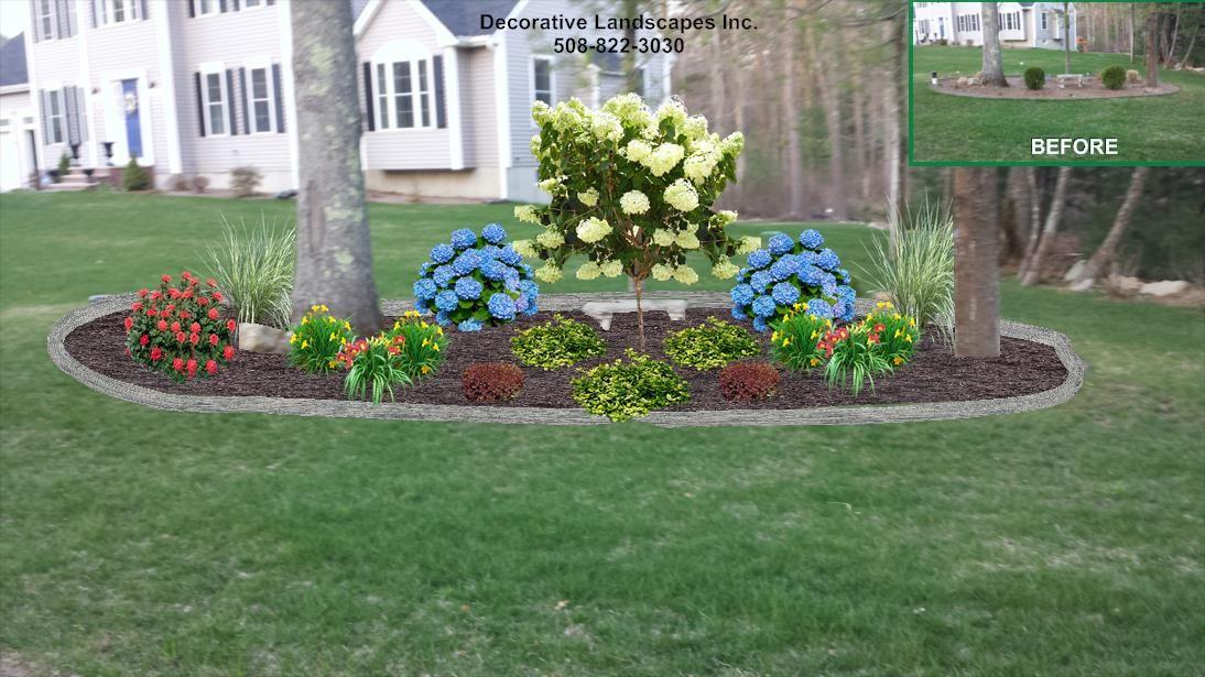 Front yard island landscape bed design lakeville ma for Island landscape design