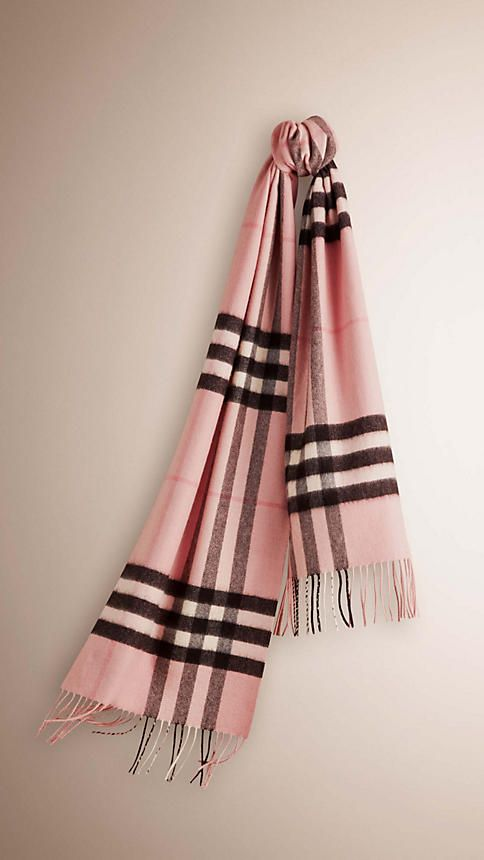 Burberry    475   The Classic Cashmere Scarf in Monogrammed Check Ash Rose c4878c774c0