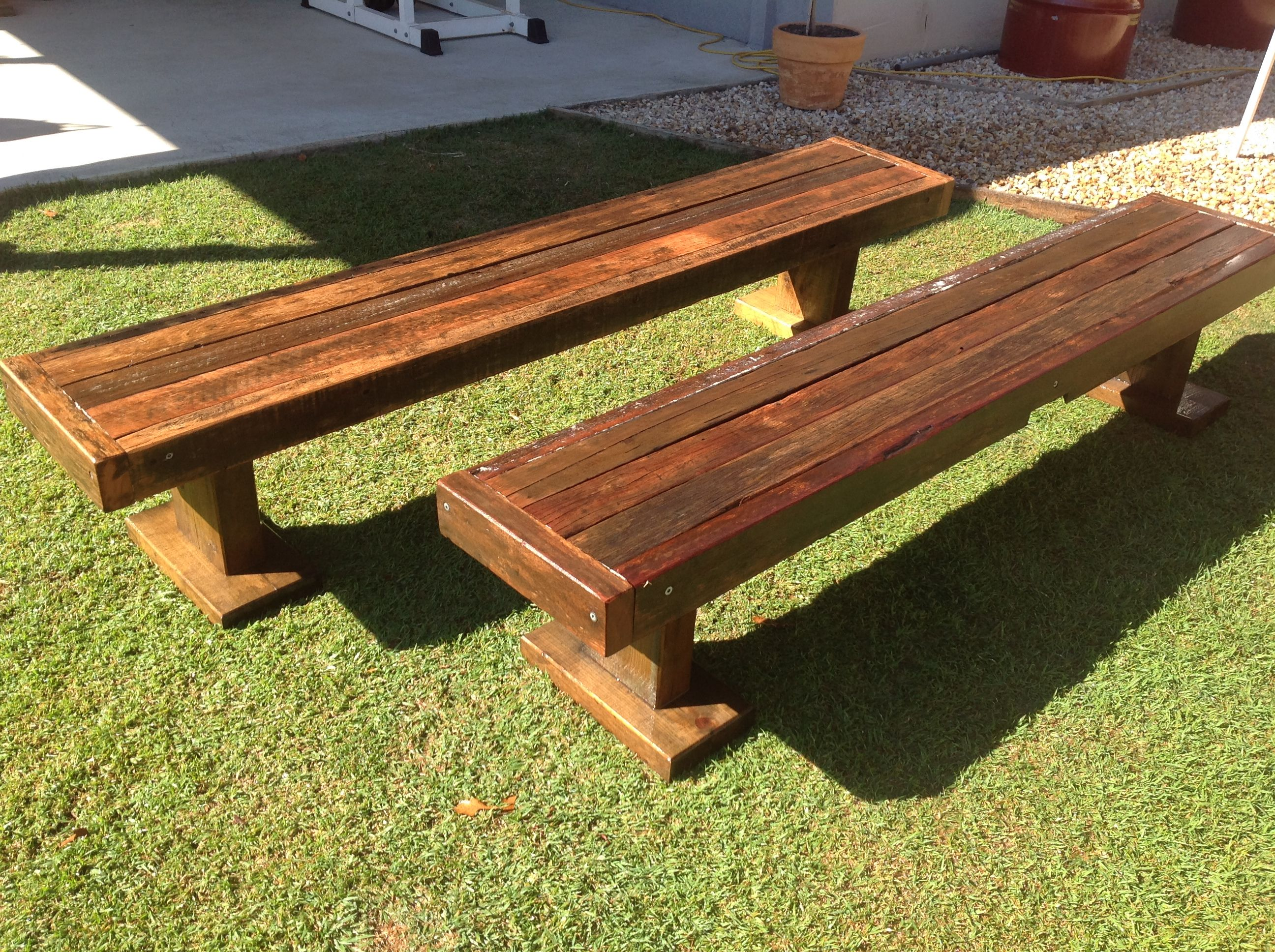 Recycled hard wood benches