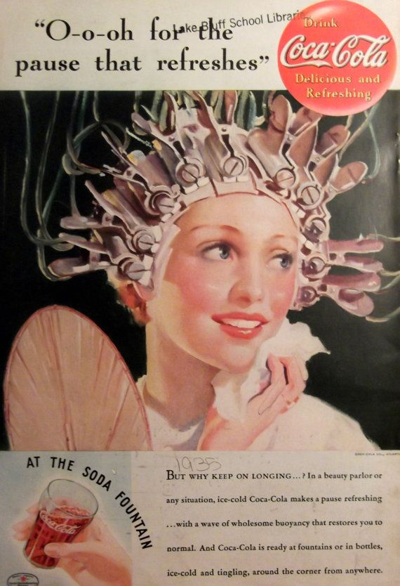 1935 CocaCola Beauty Parlor Woman in Curlers by CaboodlesCloset