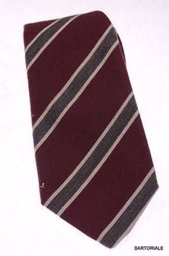 KITON Napoli Hand-Made Seven Fold Burgundy Narrow-Striped Wool-Silk Tie NEW