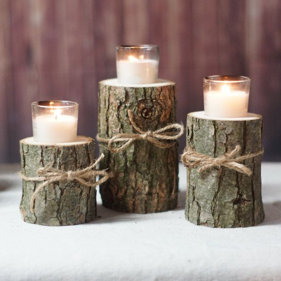 Log Candle Holder Rustic Tealight Centerpiece Home Decor Tree Branch Stump Burlap Gftwoodcraft