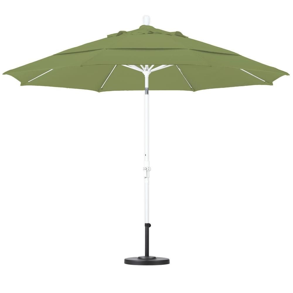 California Umbrella 11 Ft Fiberglass Collar Tilt Double Vented Patio Umbrella In Palm Pacifica Gscuf118170 Sa21 Dwv The Home Depot California Umbrella Patio Umbrella Market Umbrella