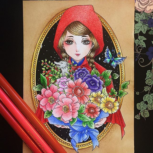 Quick postcard page from: #世界の童話塗り絵 #加藤木麻莉 #coloriage #adultcoloringbook #fabercastellpolychromos