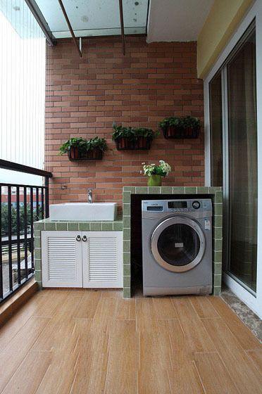 Decor balcony condo balcony balcony laundry room - Armario lavadora exterior ...