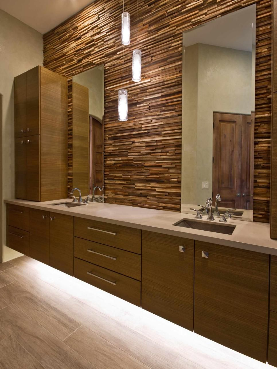 Floating Vanity Cabinets with Lighting Underneath Bathrooms