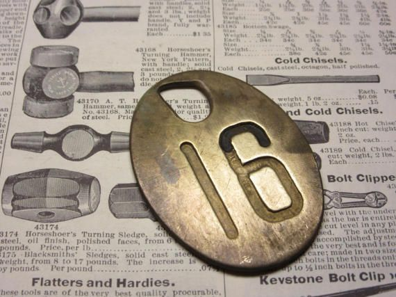 Antique Cattle Tag Number 16 Large Vintage Brass Tag
