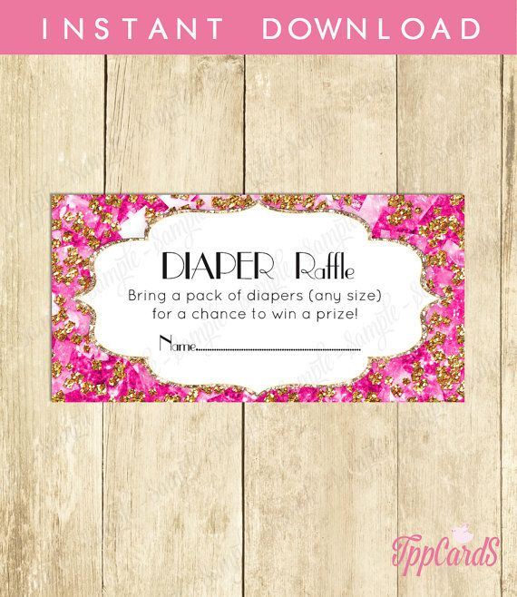 Instant Download Hot Pink Gold Baby Shower Games Diaper Raffle Cards for Girl Glitter Printable Party Sheets Drawing Card by TppCardS #tppcards