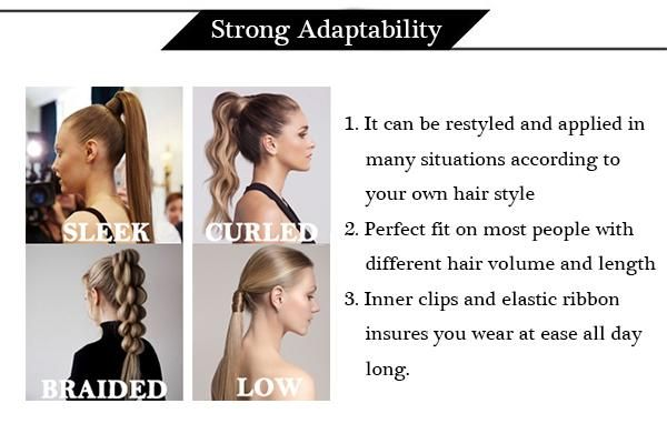 Clip in Ponytail Human Hair Extensions Blonde Highlighted #16/22