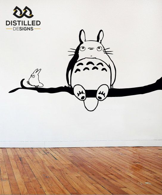 Stylised Totoro Wall Art Cut Out In Gloss Vinyl. A Variety Of Colours Are  Available