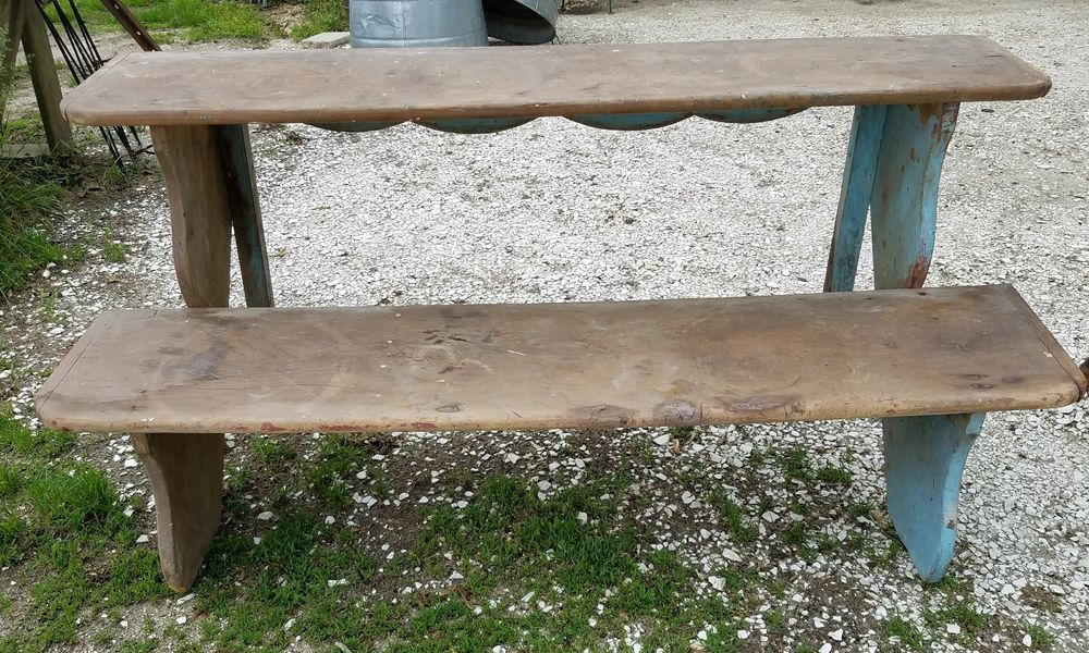 Amazing Antique Primitive Bucket Bench 1800S Old Blue Paint Early Onthecornerstone Fun Painted Chair Ideas Images Onthecornerstoneorg