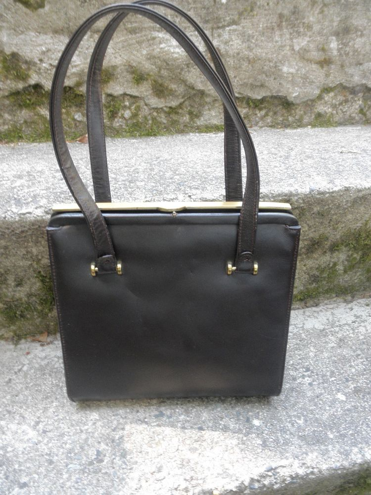 Vintage 1950 S 60 Mayer New York Dark Brown Leather Handbag Gold Tone Trim Mayernewyork