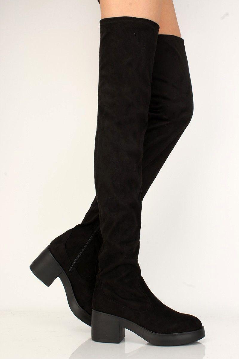 daa947c6b00 Sexy Black Platform Chunky High Heels Thigh High Boots Faux Suede