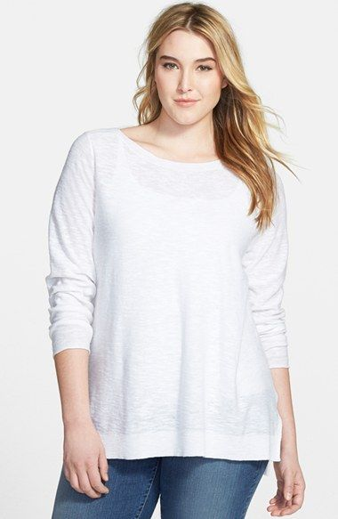 Plus Size Women's Eileen Fisher Linen & Cotton Boat Neck Top
