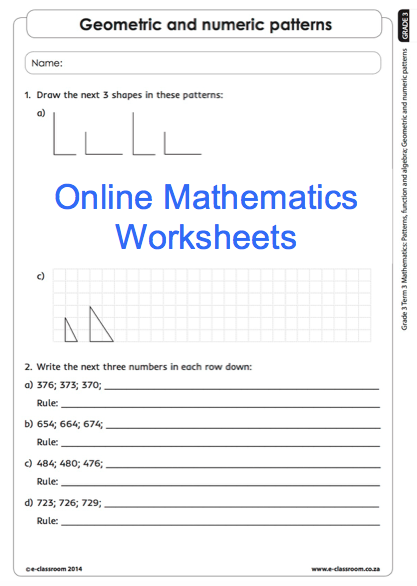 Grade 3 Online Mathematics Worksheets Number Patterns For More Visit Www E Classroom Co Za Mathematics Worksheets Worksheets School Worksheets