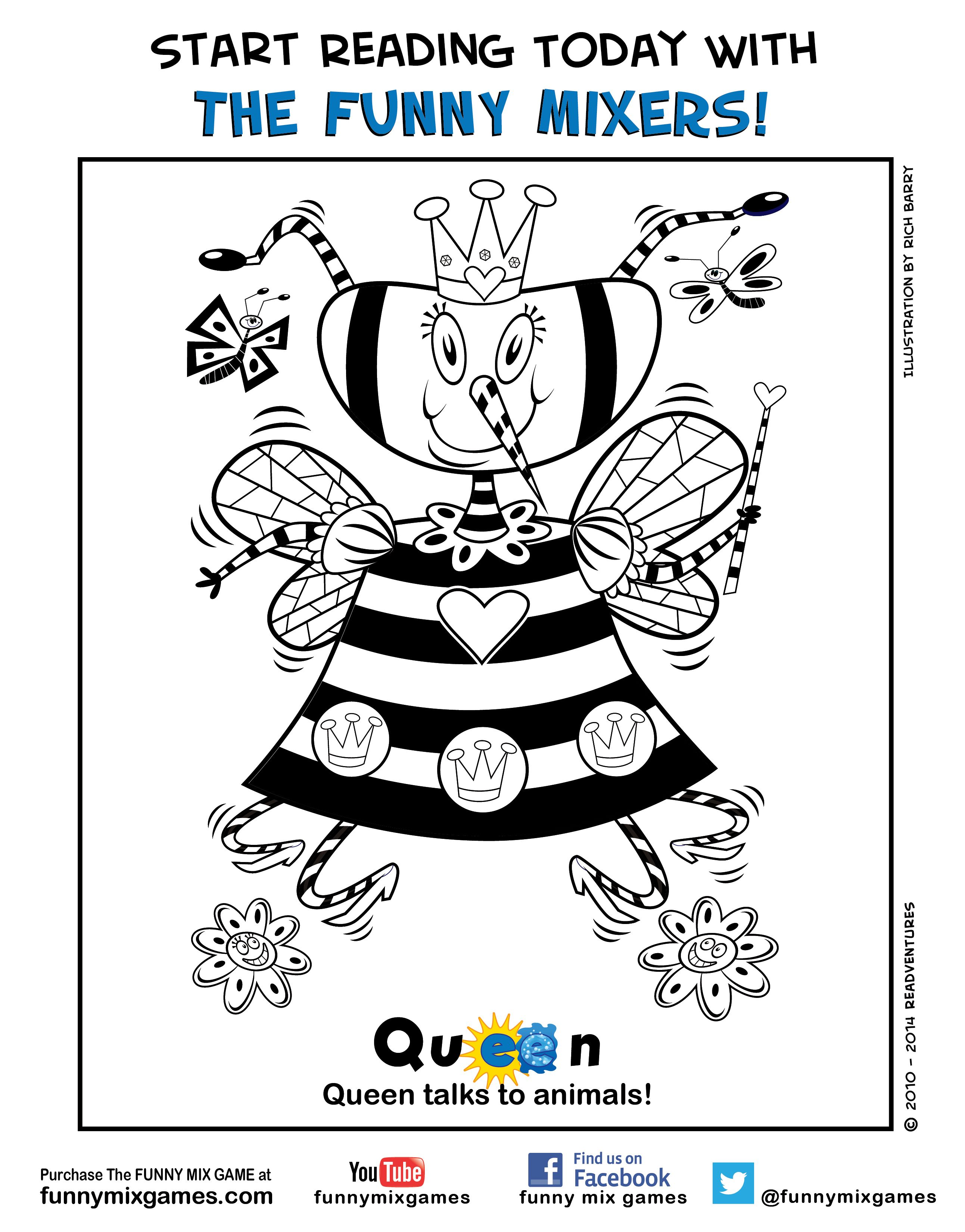 Funny Mix Game Coloring Page Character Queen Please