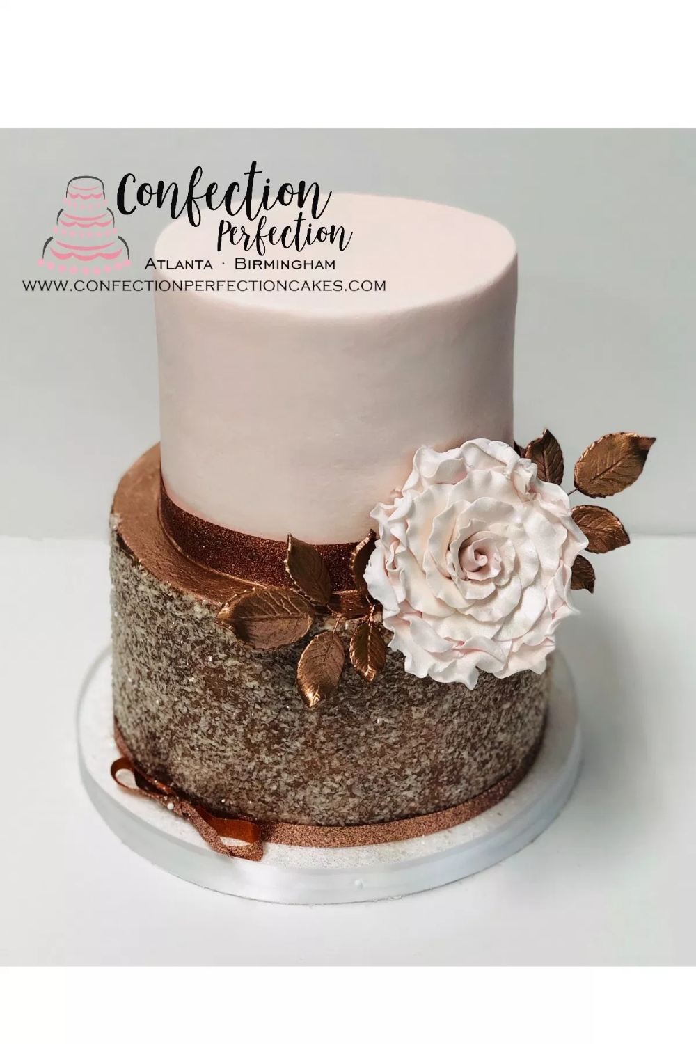 Rose Gold Sparkle 2 Tier Cake Confection Perfection Cakes