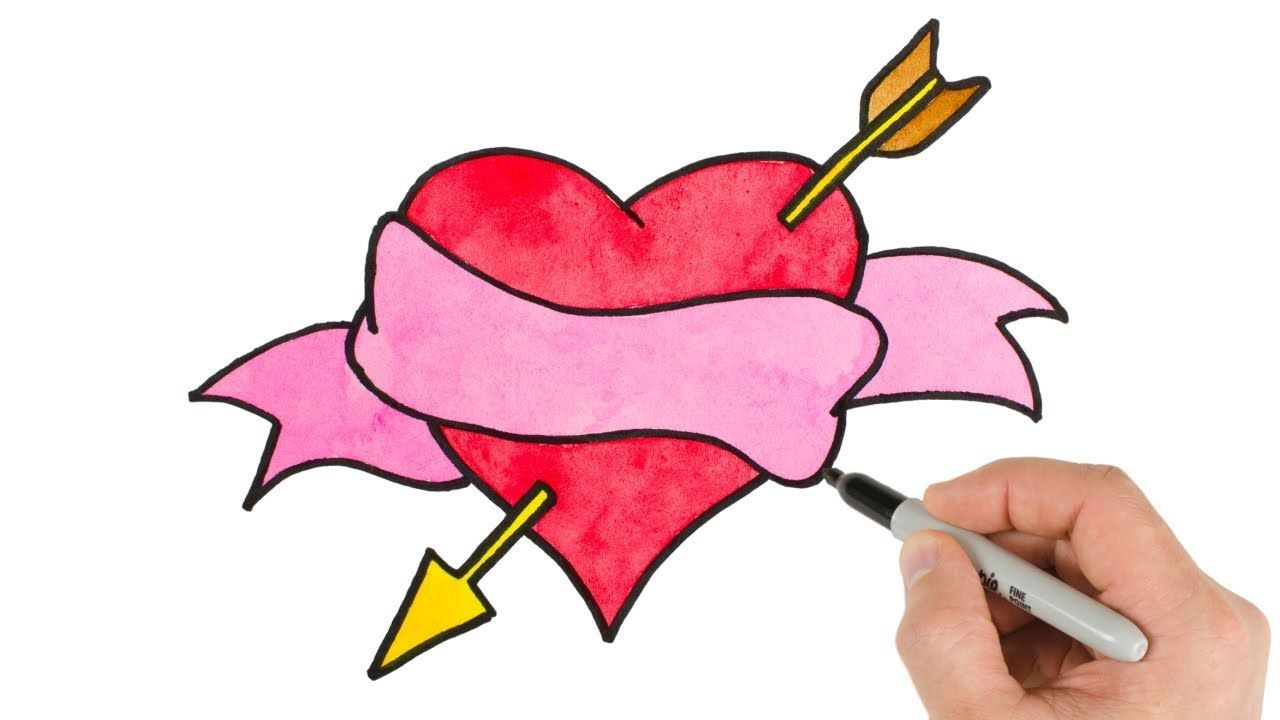 How To Draw A Heart With Arrow Watercolor Easy Valentine S Day Drawings Valentines Day Drawing Valentine Drawing Easy Heart Drawings
