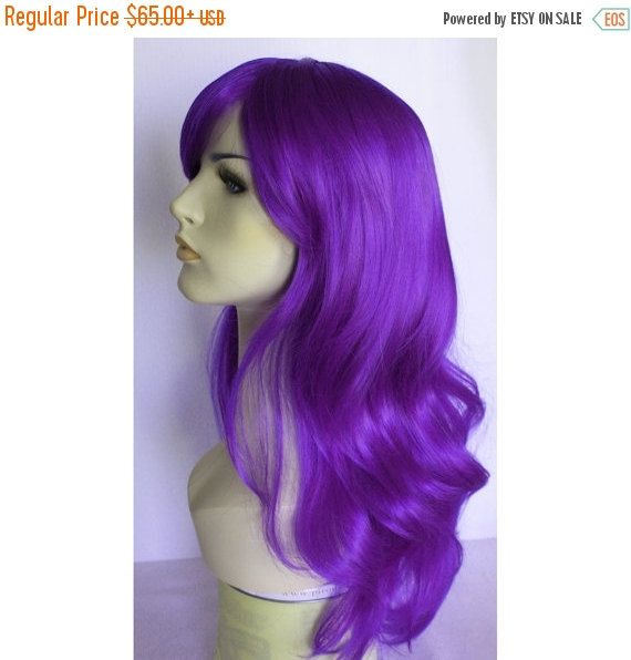 Halloween SALE Long wavy purple wig with bangs by wigglywigs. Explore more products on http://wigglywigs.etsy.com