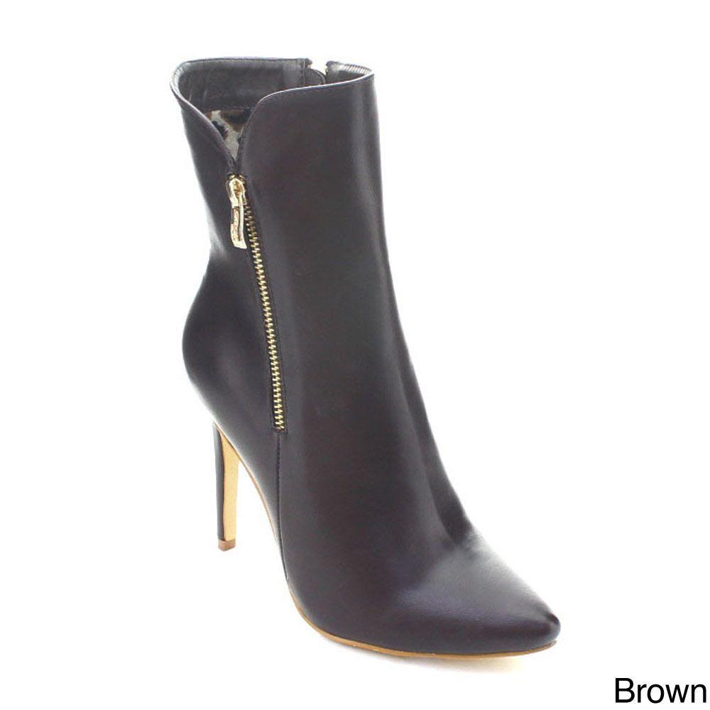 Dbdk London-2 Women's Pointed Toe Stiletto Heel Side Zip Mid-calf Dress Boots