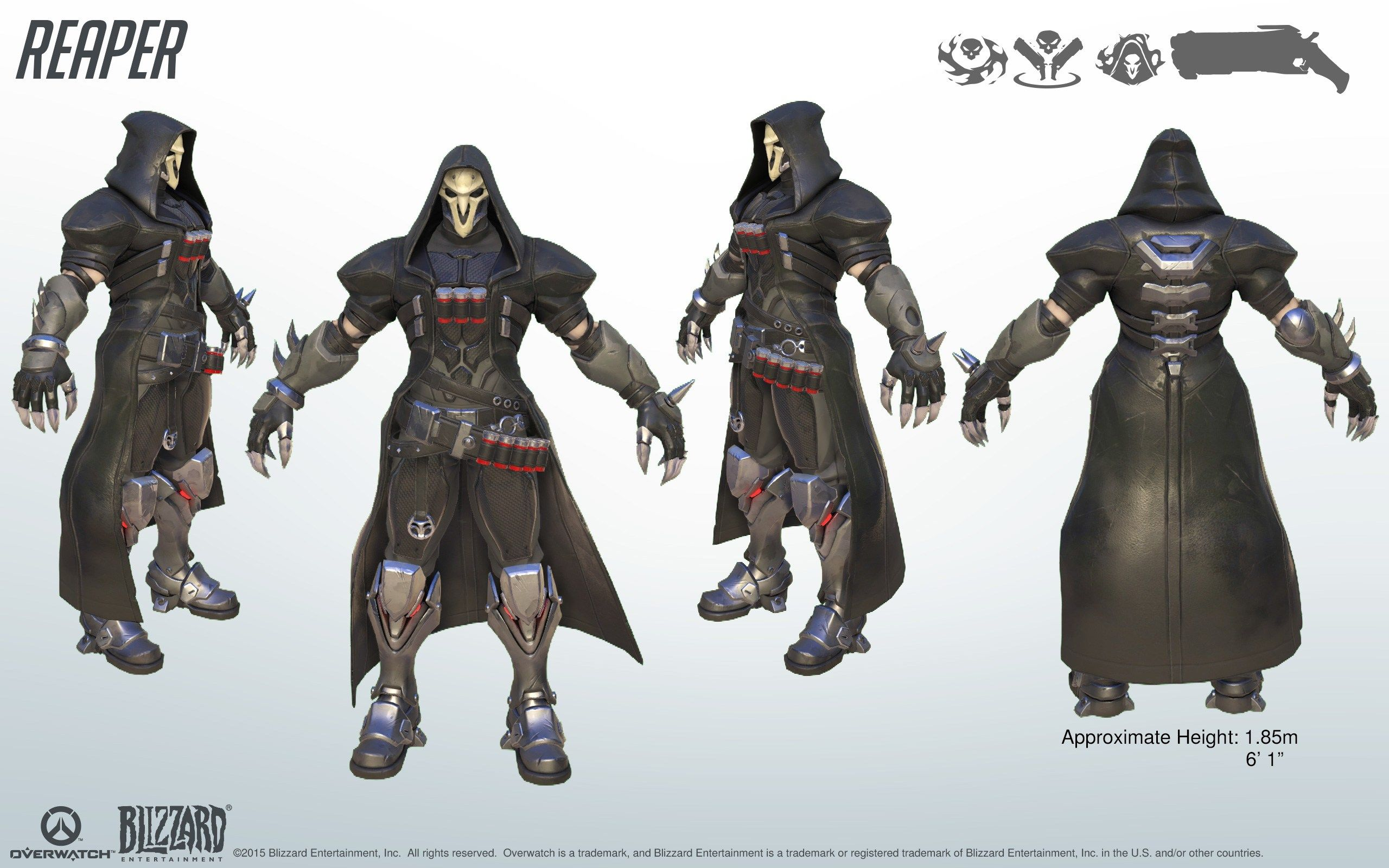 Overwatch Character Design Concept Art : Reaper overwatch model sheet turnaround