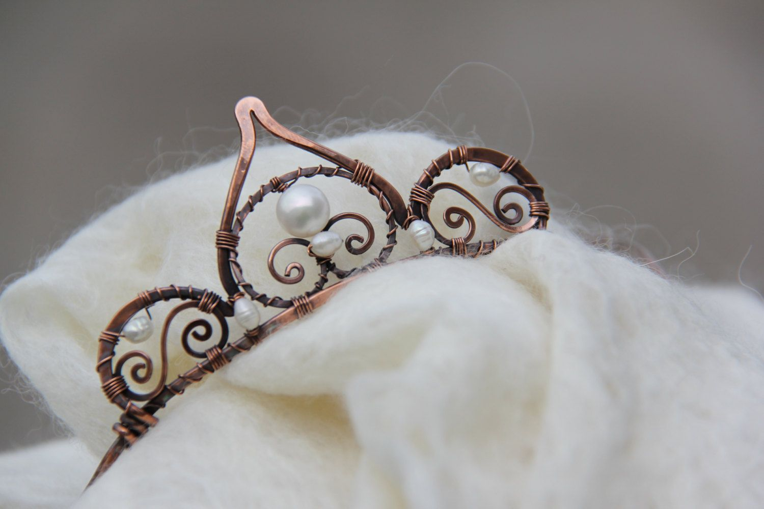 Oxidized copper and pearls tiara, diadem, head piece, wire wrap head piece, wedding, prom, costume, role play, whimsical by Keepandcherish on Etsy