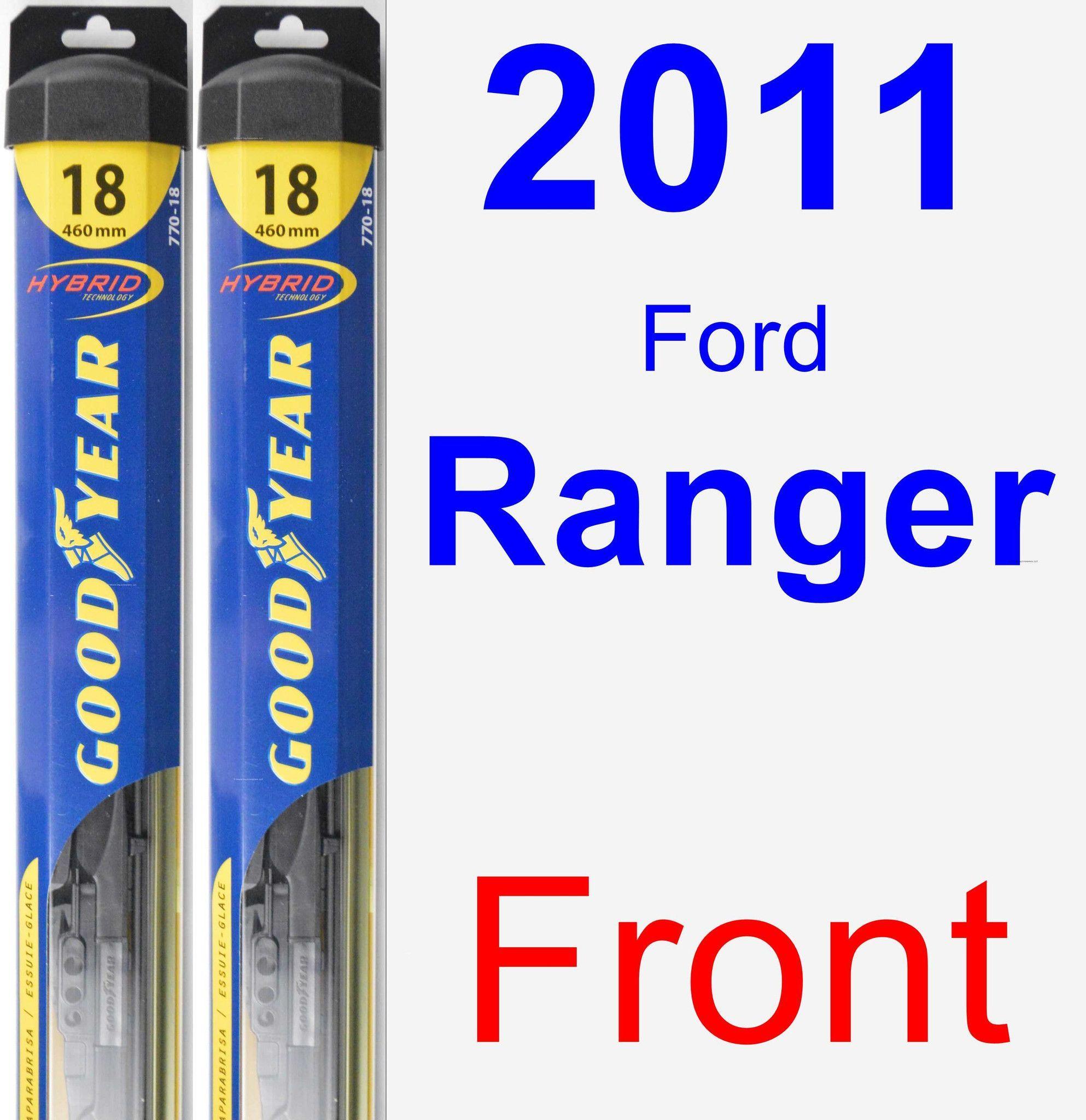 Front wiper blade pack for 2011 ford ranger hybrid