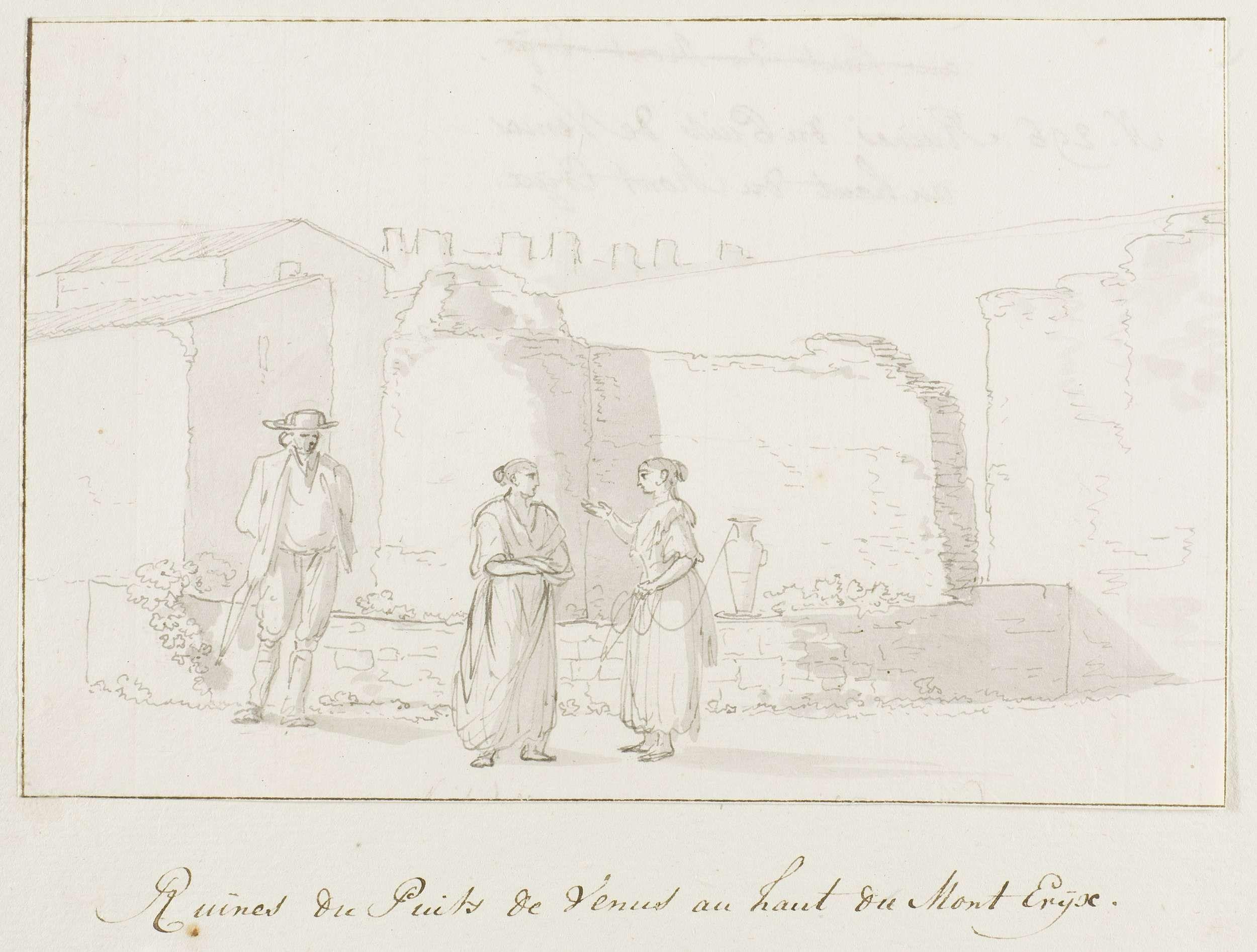 Louis Ducros | Ruïnes van de put van Venus, gelegen hoog op de berg Eryx, Louis Ducros, 1778 | Tekening uit het album 'Voyage en Italie, en Sicile et à Malte', 1778.