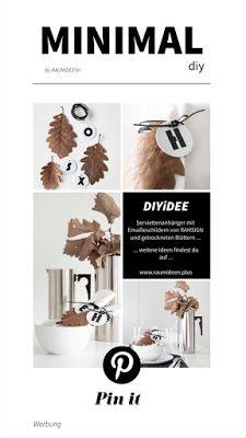 Herbstliche Tischdeko - DIY Serviettenanhänger aus Herbstblättern Mehr kreative Ideen findest du auf RAUMiDEEN #herbstlichetischdeko