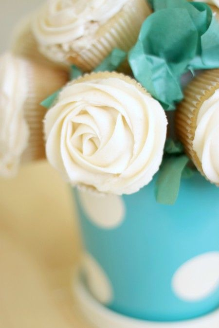 How to make a Cupcake bouquet, close up  Click on link upper right hand of picture
