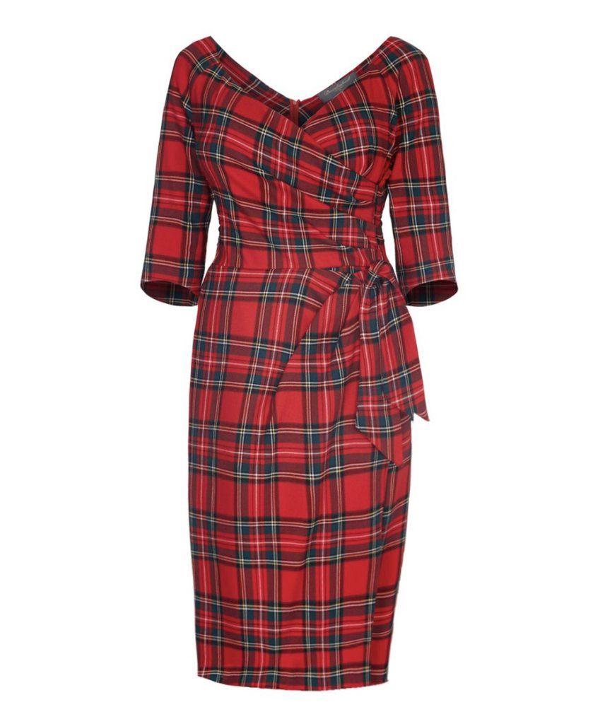 Nigella Dress In Tartan The Original Nigella Lawson Dress 3 4 Sleeve Moss Crepe Sarong Wrap Dress Bombshell L Spotty Dress Bombshell Dress Tartan Fashion [ 1024 x 856 Pixel ]