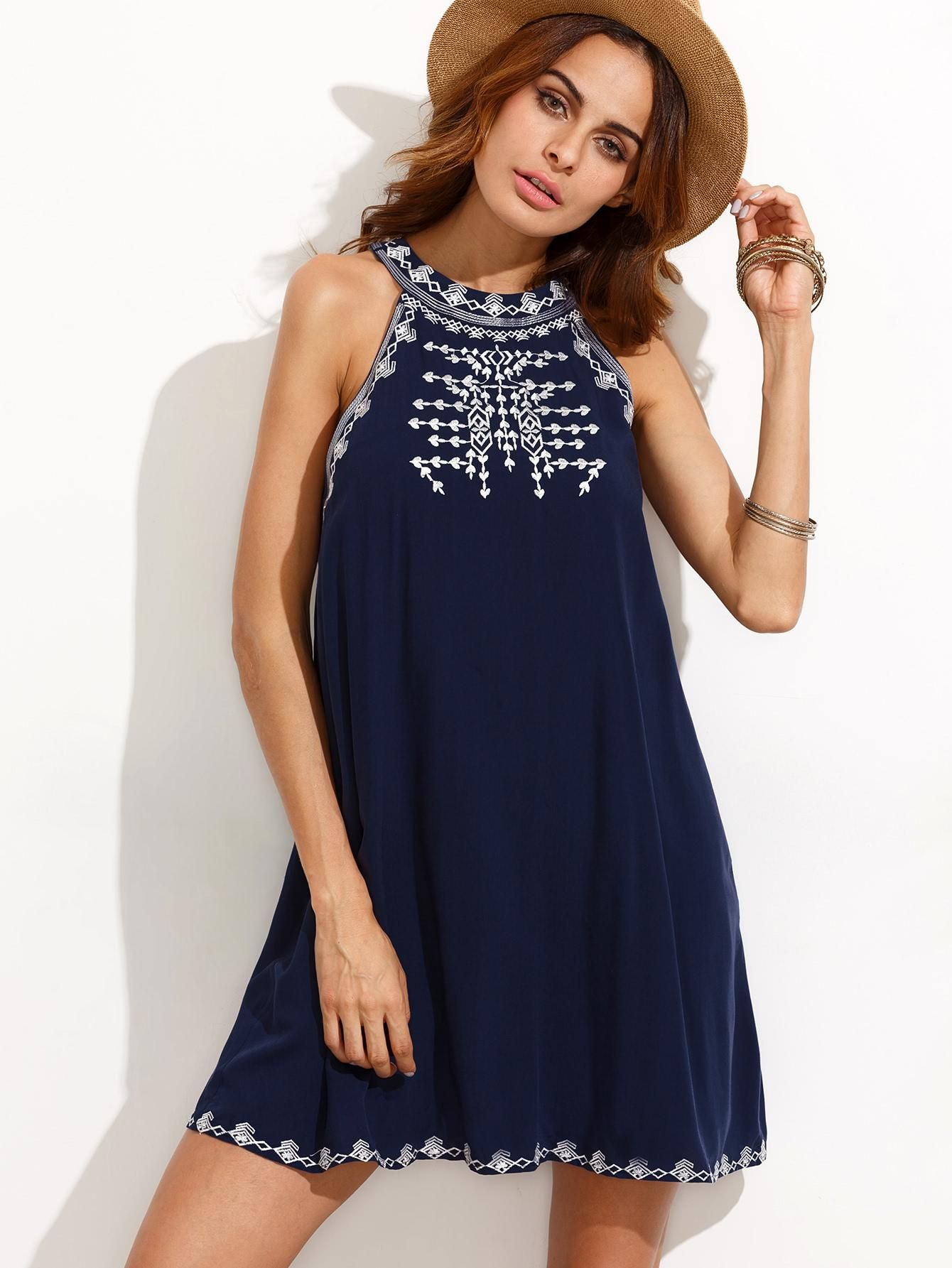 Romwe romwe navy embroidered cutout tie back sleeveless dress