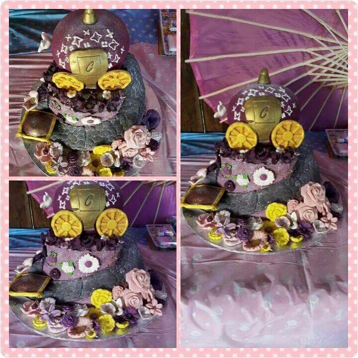 Cinderella Carriage cake with fondant flowers and hand painted flowers.
